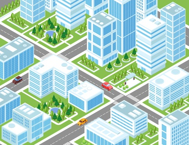 Industrial city composition buildings city industrial isometric vector illustration