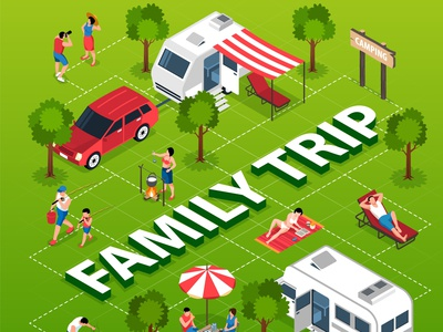 Family trip flowchart activities leisure camper van family trip isometric vector illustration