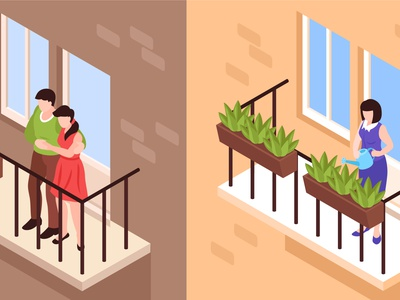Neighbors window set windows neighbors isometric vector illustration