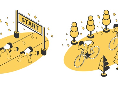Summer sport composition set competitions cycling running summer isometric vector illustration