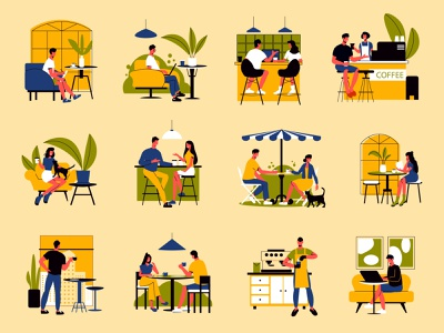 People drinking coffee at cafe set working drinking cafe friends people flat vector illustration
