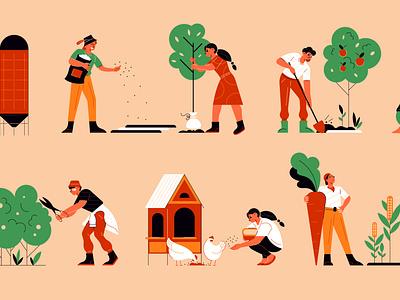 Farm icons set characters tools plants gardening farm flat vector illustration