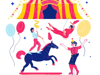 Funfair circus composition performers funfair circus flat vector illustration