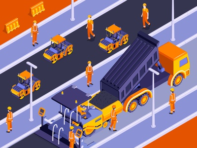 Road construction composition builders machinery construction isometric vector illustration