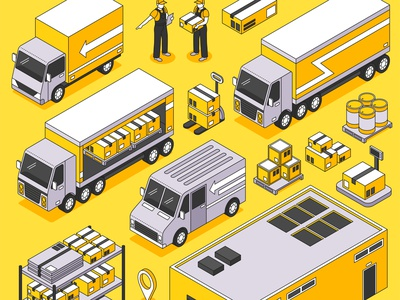 Logistics delivery set cargo transportation warehouse delivery logistics isometric vector illustration