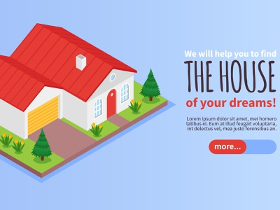 Private house banner garage estate agency private house isometric vector illustration