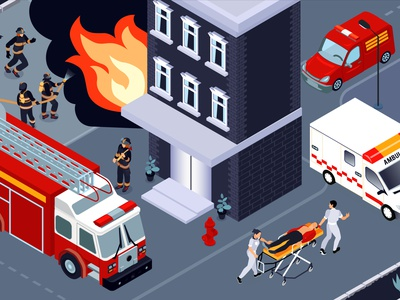 Firefighting illustration people saving building firefighter isometric vector illustration