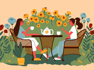 Gardening people composition flowers blossom women drinking tea people gardening flat vector illustration