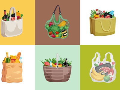 Shopping bag design concept basket products shopping bag flat vector illustration