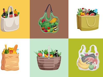 Shopping bag design concept basket products shopping bag flat vector illustration