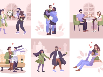 Romantic couple composition set together love people pastime couple romantic flat vector illustration