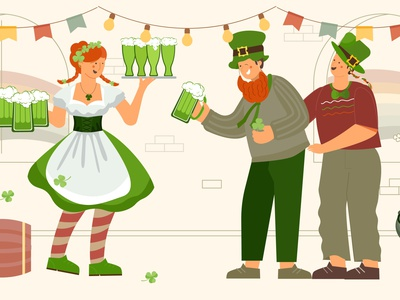 Patrick day waiter composition beer waitress characters pub patrick day flat vector illustration