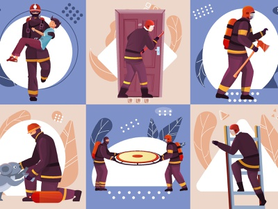 Firefighters design concept set lives saving fighting characters firefighters flat vector illustration