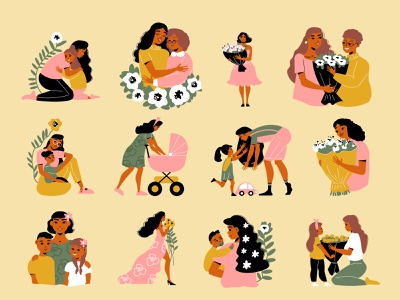 Mothers day icons set flowers children female character female mothers day flat vector illustration