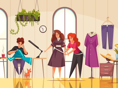 Atelier modern composition sewing clothes woman seamstresses atelier cartoon vector illustration