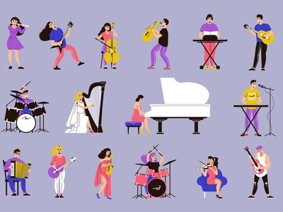 Musicians icons set melody concert music instruments characters musicians flat vector illustration