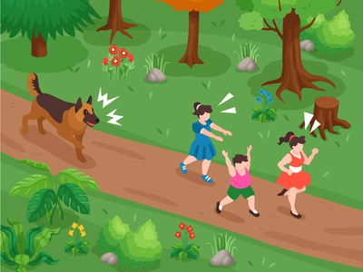 Kids running from dog screaming barking fear running kids park dog isometric vector illustration