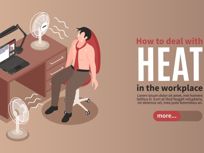 Hot air conditioner banner temperature overheating business office isometric vector illustration