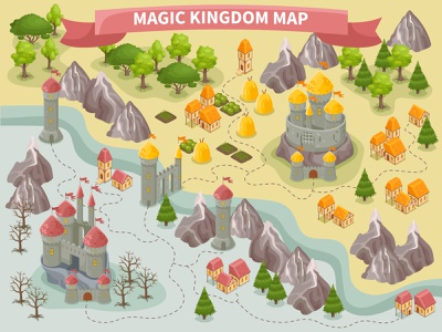 Magic kingdom map fairytale castles map kingdom magic fantasy isometric vector illustration