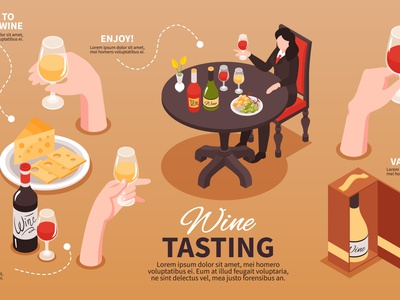 Wine tasting infographics alcohol drink tasting wine isometric vector illustration
