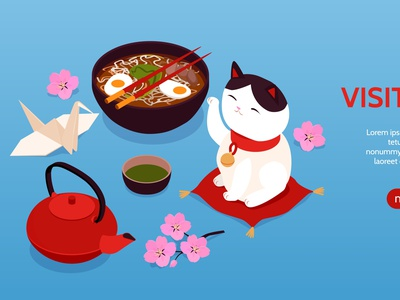 Japan tourism banner tourism traditional culture travel isometric vector illustration