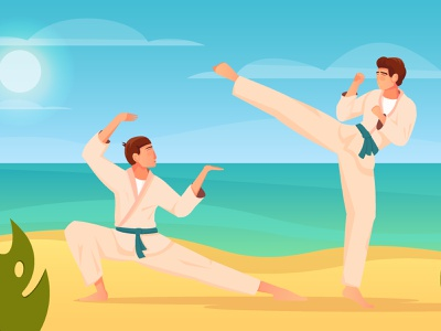 Martial arts composition karate kimono fighters fight martial arts flat vector illustration