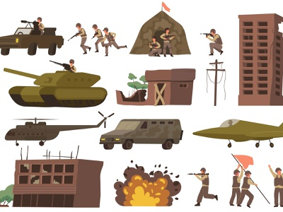 War icon set tanks explosions military destroyed war flat vector illustration