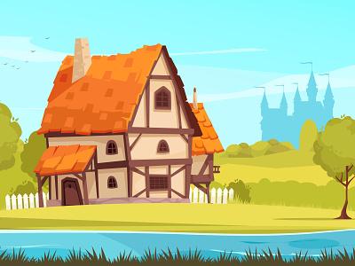 Architectural evolution image cottage suburban medieval evolution architecture cartoon vector illustration