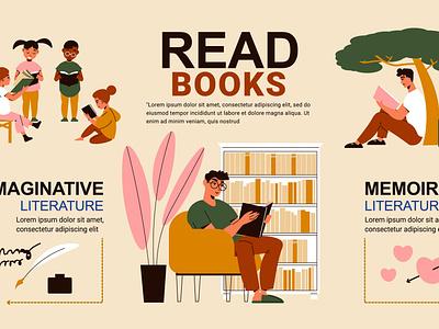 Read books people infographics memoir scientific imaginative people books flat vector illustration