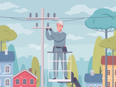 Electrician composition man power lines uniform electrician cartoon vector illustration