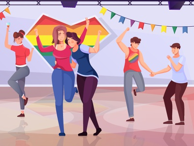 Lgbt party background young funny party people lgbt flat vector illustration