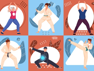 Martial arts compositions set sport exercises ages people martial arts flat vector illustration