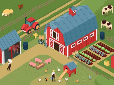 Farm illustration livestock barnyard farm isometric vector illustration