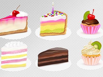 Cake pieces set sweet food cake dessert realistic vector illustration