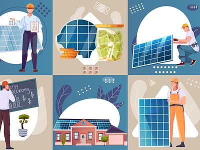 Alternative energy resources set economy resources solar renewable energy flat vector illustration