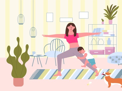 Home sport composition fitness activity lifestyle sport flat vector illustration