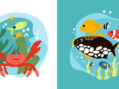 Aquarium creatures set fauna aquarium creature underwater flat vector illustration