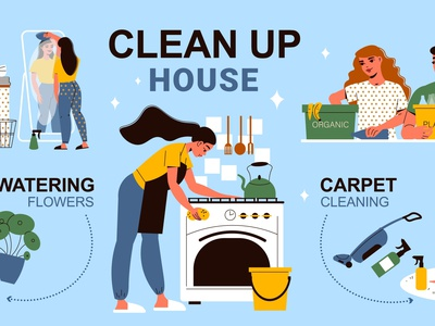 Cleaning up house infographics people watering cooking washing cleaning flat vector illustration