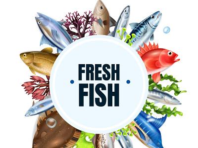 Sea fish composition wildlife marine underwater fish realistic vector illustration