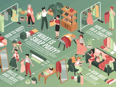Swap party flowchart donation exchange clothes fashion shopping isometric vector illustration