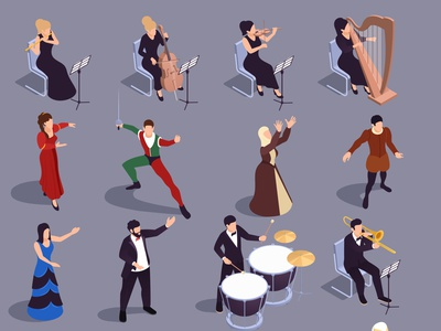 Grand theatre icons set people culture performance entertainment theater isometric vector illustration