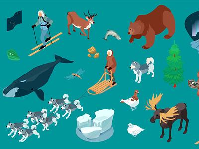 Alaska icons set frost tourism ice alaska northern isometric vector illustration