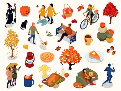 Autumn icons set halloween pumpkin harvest umbrella autumn isometric vector illustration