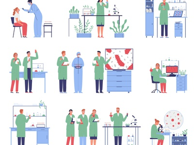 Microbiology scientists set biotechnology biology research science people flat vector illustration
