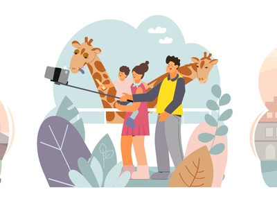 People take selfies at the zoo photograph zoo smartphone portrait camera flat vector illustration