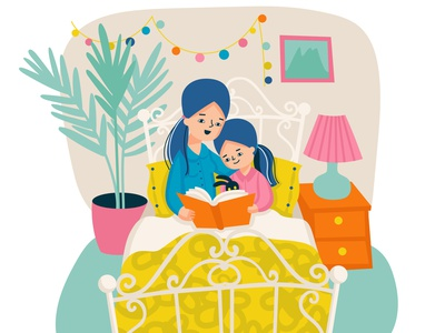 Mother and daughter reading composition together motherhood family leisure relationship flat vector illustration