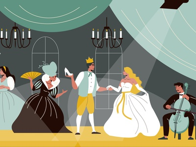 Theatre scene illustration acting costume performance stage theatre flat vector illustration