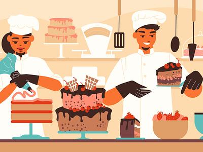 Confectionery illustration baking cuisine cake dessert confectionery flat vector illustration