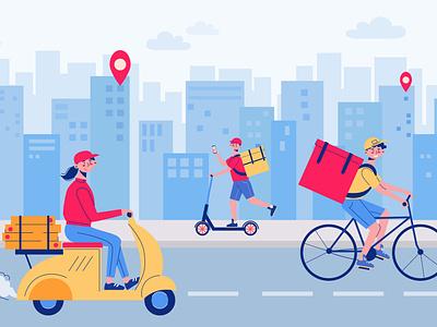 Food delivery city composition online order food city service delivery flat vector illustration