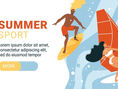 Summer water activities banner competition extreme sport vacation seashore flat vector illustration